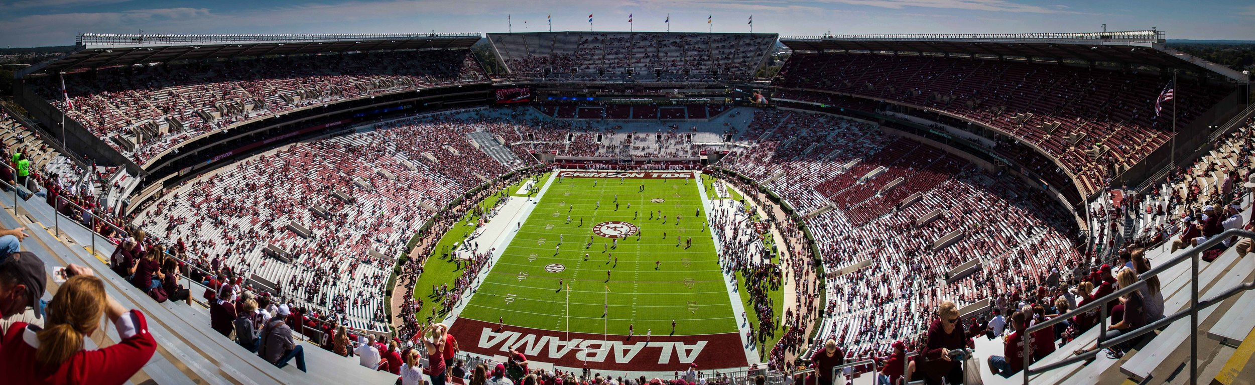 Here is another attempt of a panoramic shot of Bryant-Denny stadium. I arrived 2 hours before kickoff to grab this shot. I was a bit ticked at one of the stadium workers who told me that I could not get to the top if I didn't have a ticket to sit up there. Really? You telling me that I have to buy a ticket to sit up there even though I am in the stadium?!?!. Needless to say I was able to find my way to the north end zone and take some shots and make this shot.