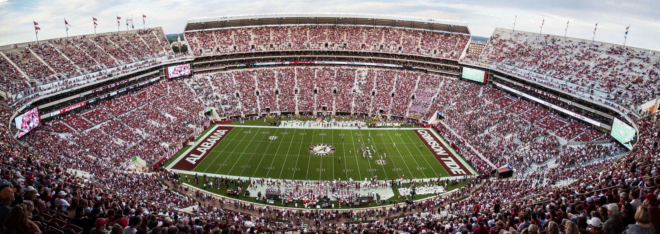 Here is my attempt at a panoramic shot of Bryant-Denny from the west side of the stadium. After seeing this I really wish I had a fisheye lens to capture more of the sky in this shot.