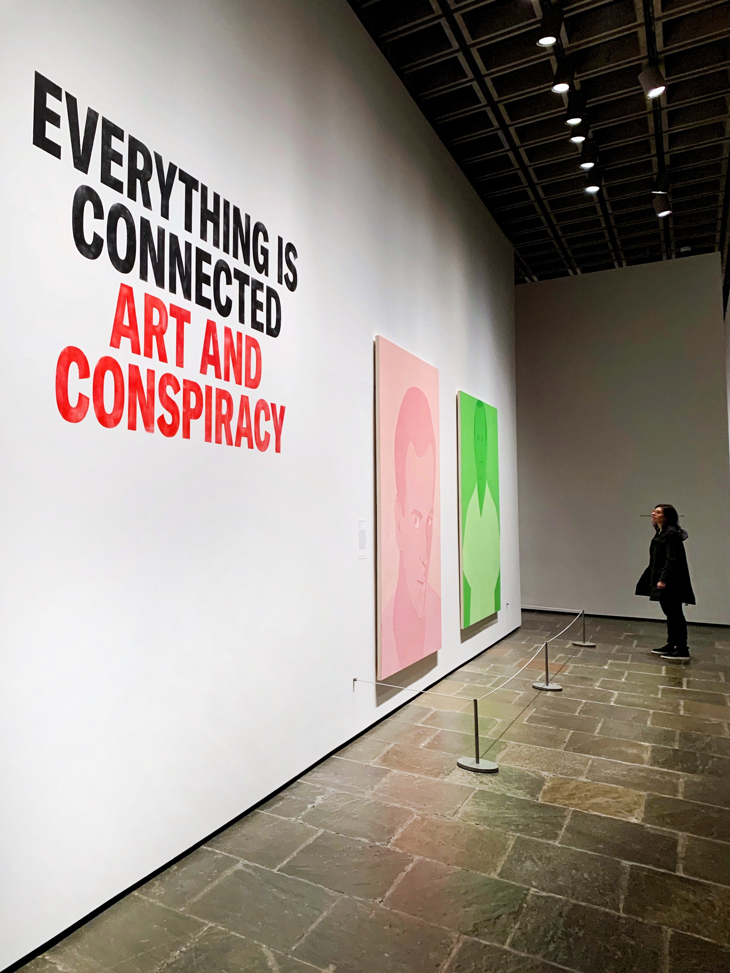 The entrance to Everything is  Connected: Art and Conspiracy  at the Met Breuer, running through January 6, 2019