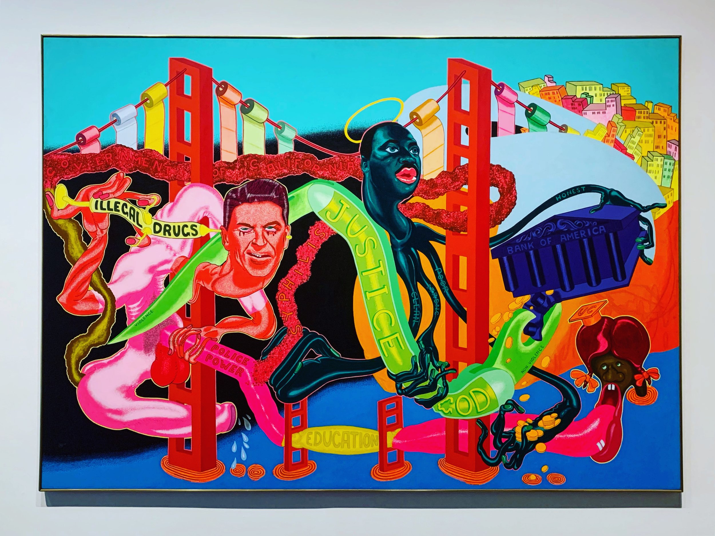 """Peter Saul Government of California 1969 Acrylic on canvas   """"Saul's kaleidoscopic depiction of tangled protuberances and bulbous limbs evokes a period when protests against the Vietnam War and for Civil Rights consumed much of the country, resulting in sometimes violent police and military reprisals. The artist depicts these seemingly intractable conflicts as the climax of a monster movie. Martin Luther King, Jr., assassinated the previous year, appears as a haloed octopus and wields a large switchblade, illustrating a central dilemma for the political Left of violence versus non-violent resistance. Saul portrays Ronald Reagan, then the Governor of California, as Frankenstein's monster, with a syringe of illegal drugs protruding from his head. This may reference the conspiracy theory that the right-wing politician's power over the counterculture derived in part from the government's covert inundation of antiwar groups and communities of color with drugs in order to neutralize their opposition."""""""