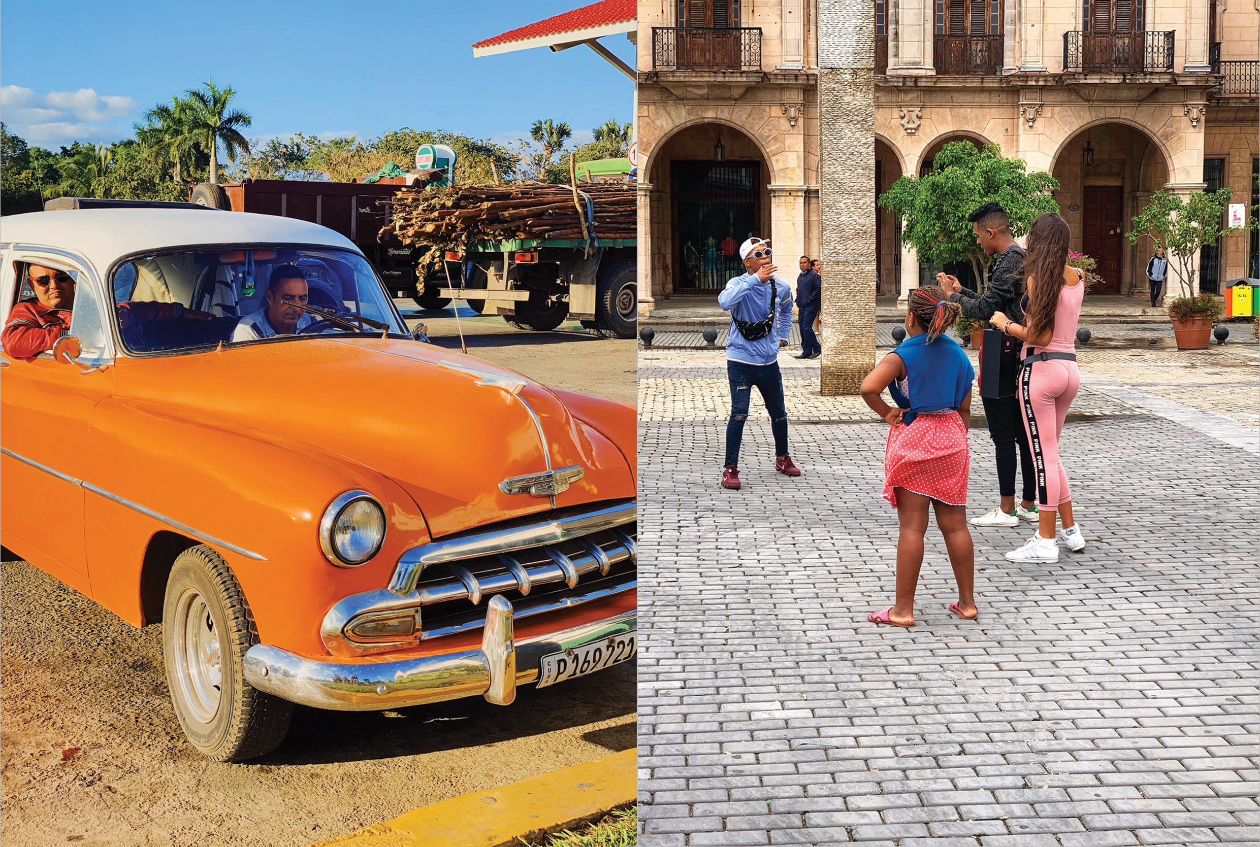 Local travelers in their classic Chevrolet at a gas-station in Viñales, juxtaposed with YouTubers making a video in the center of Old Havana.