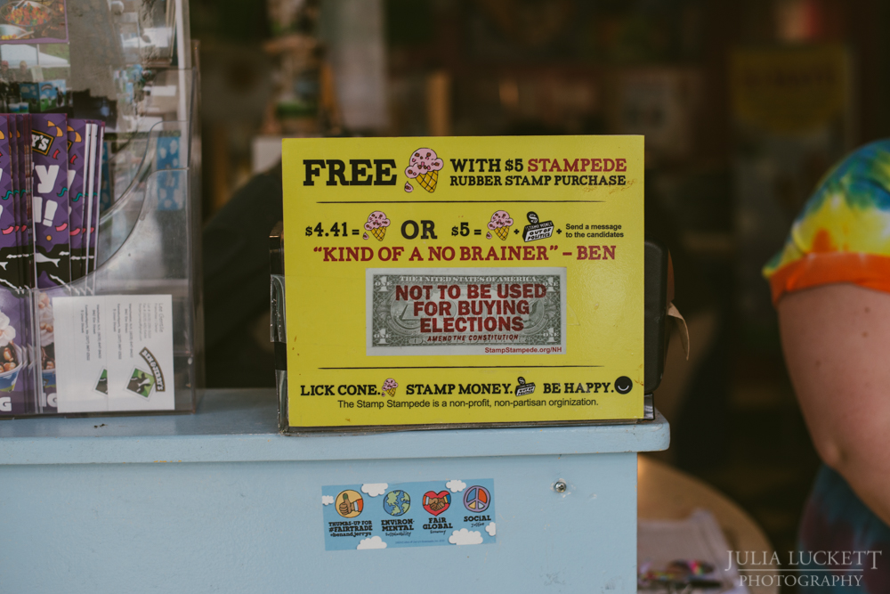 An advertisement for a Stampede Stamp at the Ben & Jerry's Ice Cream in Manchester, NH.