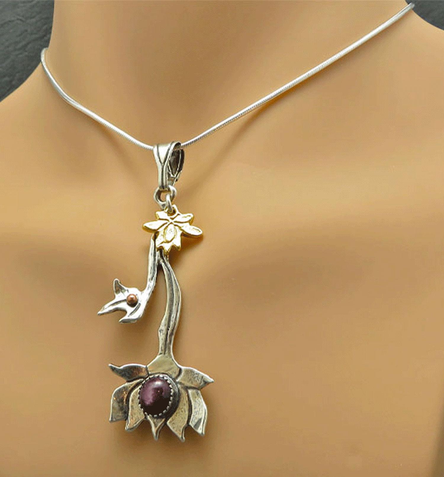 Star Ruby Lotus Flower Necklace Custom Handmade Jewelry