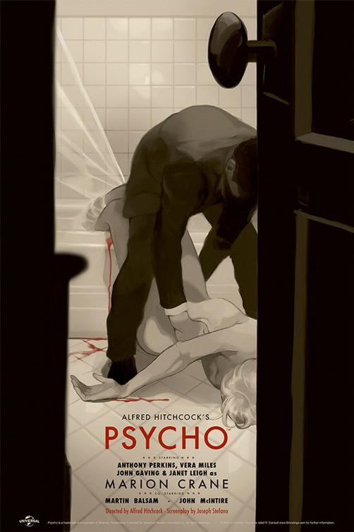 "Psycho  poster by  Tomer Hanuka  . 24""x36"" screen print. Edition of 290. $45 ."