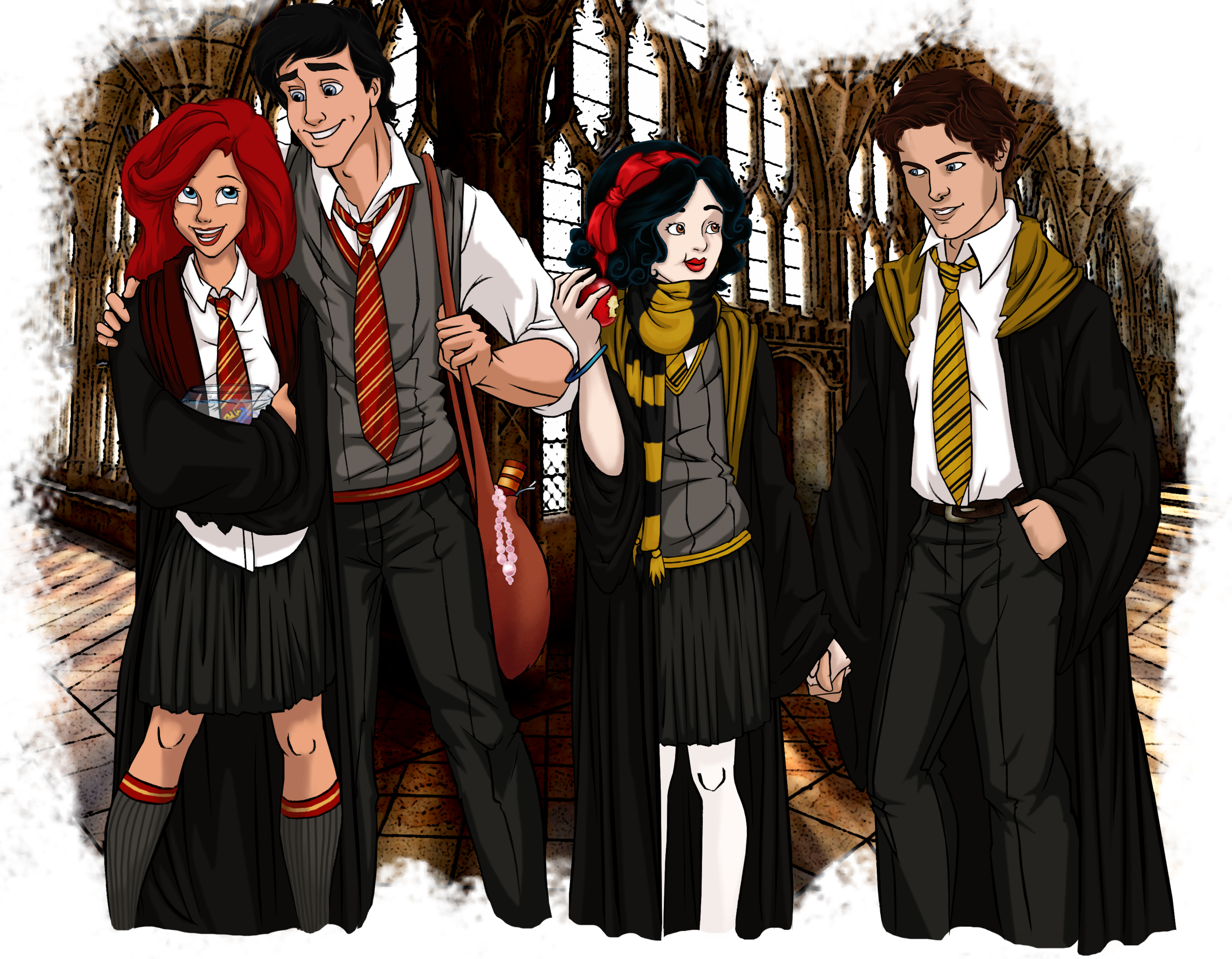 Ariel, Prince Eric, Snow White and Prince Florian