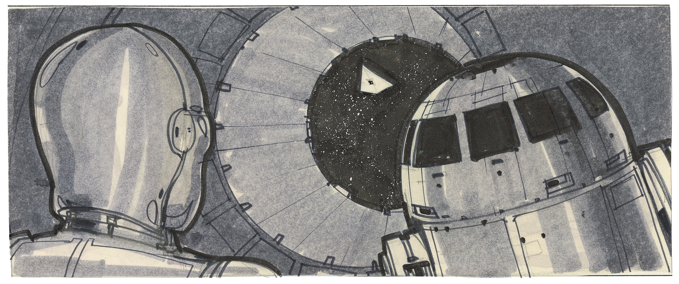 """C3pO and R2D2 escape. """"Imperial gunners let the drifting life pod sail by."""" Art by Joe Johnston."""