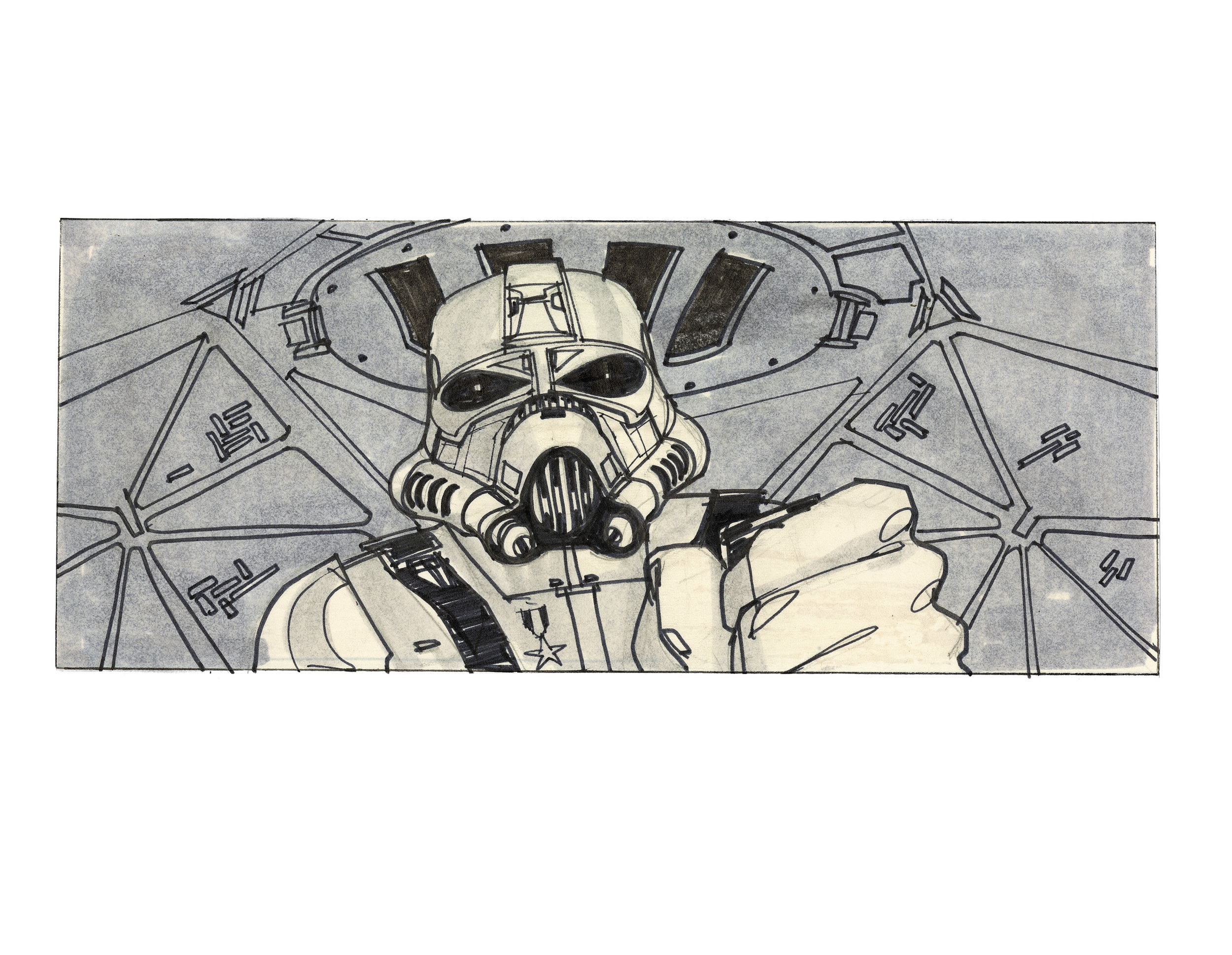 A close up of Vader in his TIE fighter – Joe Johnston