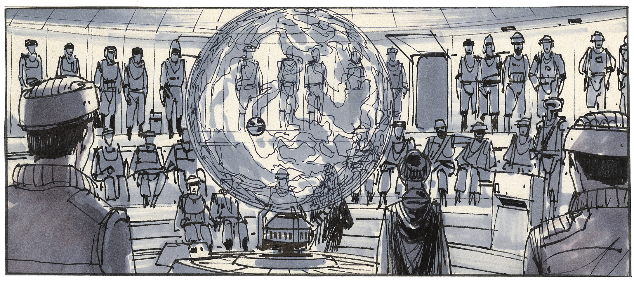 """Aboard the rebel """"headquarters frigate"""", Mon Mothma, General Nadine, and Admiral Ackbar explain their strategy for destroying the second Death Star. - Joe Johnston"""