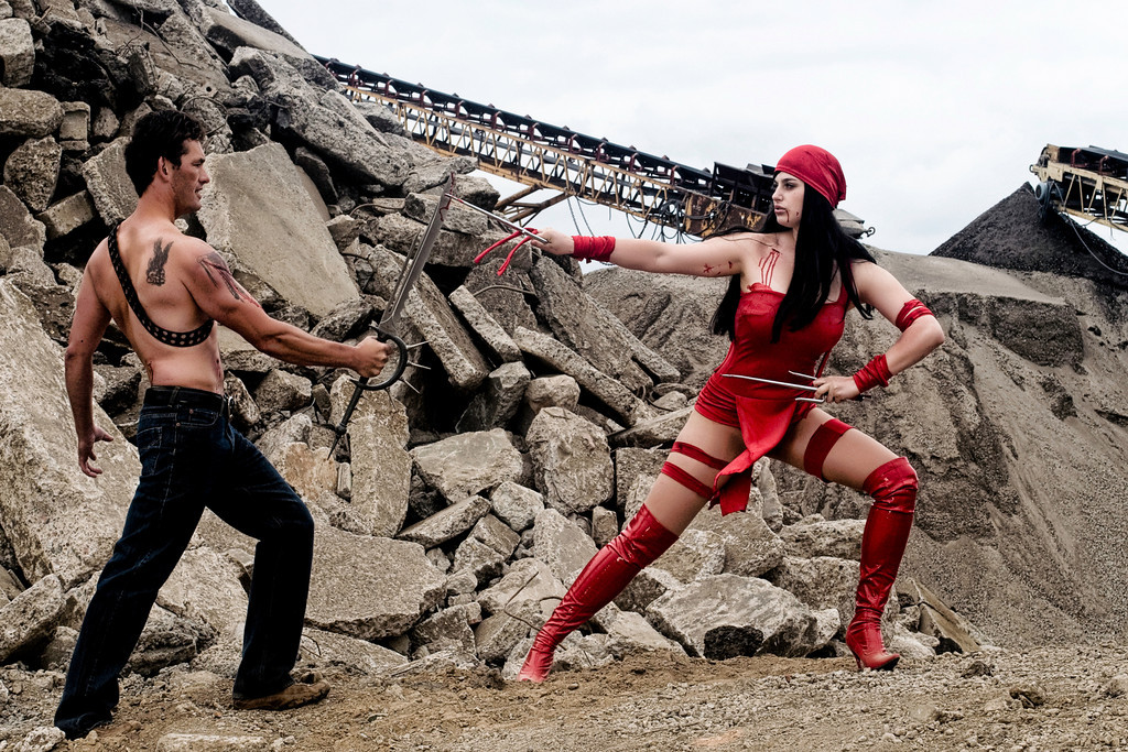 Meagan Marie  is Elektra and Enemy is Tracy Carpenter | Photo by: Jeff Spain | Makeup by: Ali M Beuning