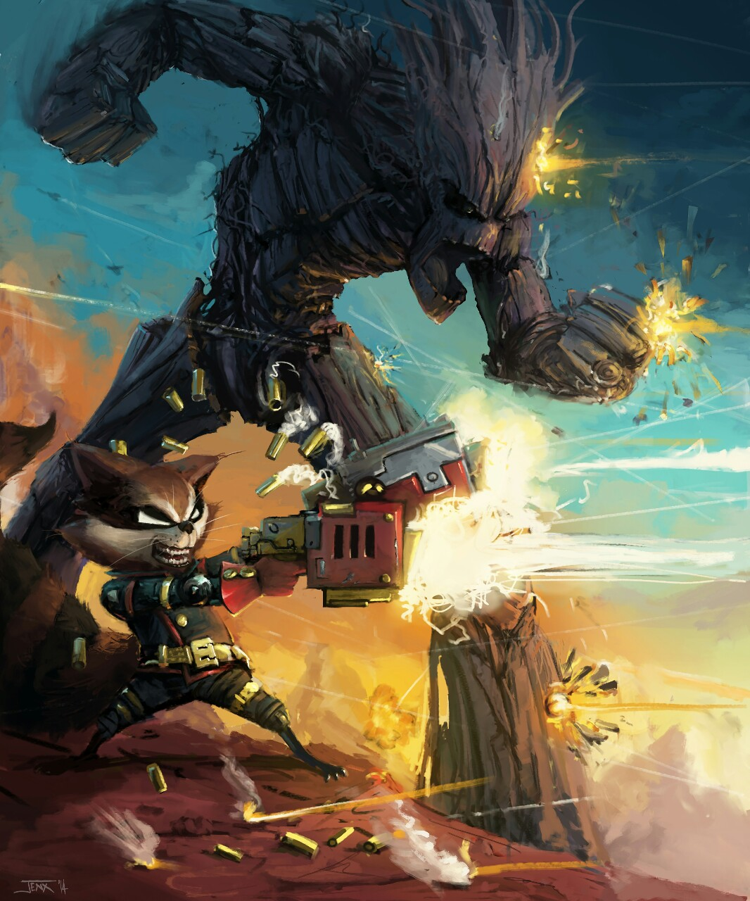ballistic-rocket-raccoon-and-groot-art-by-rob-jenx