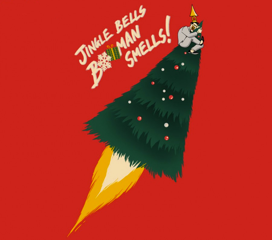 Christmas With The Joker.The Joker Gets Away In Christmas T Shirt Art By Matt