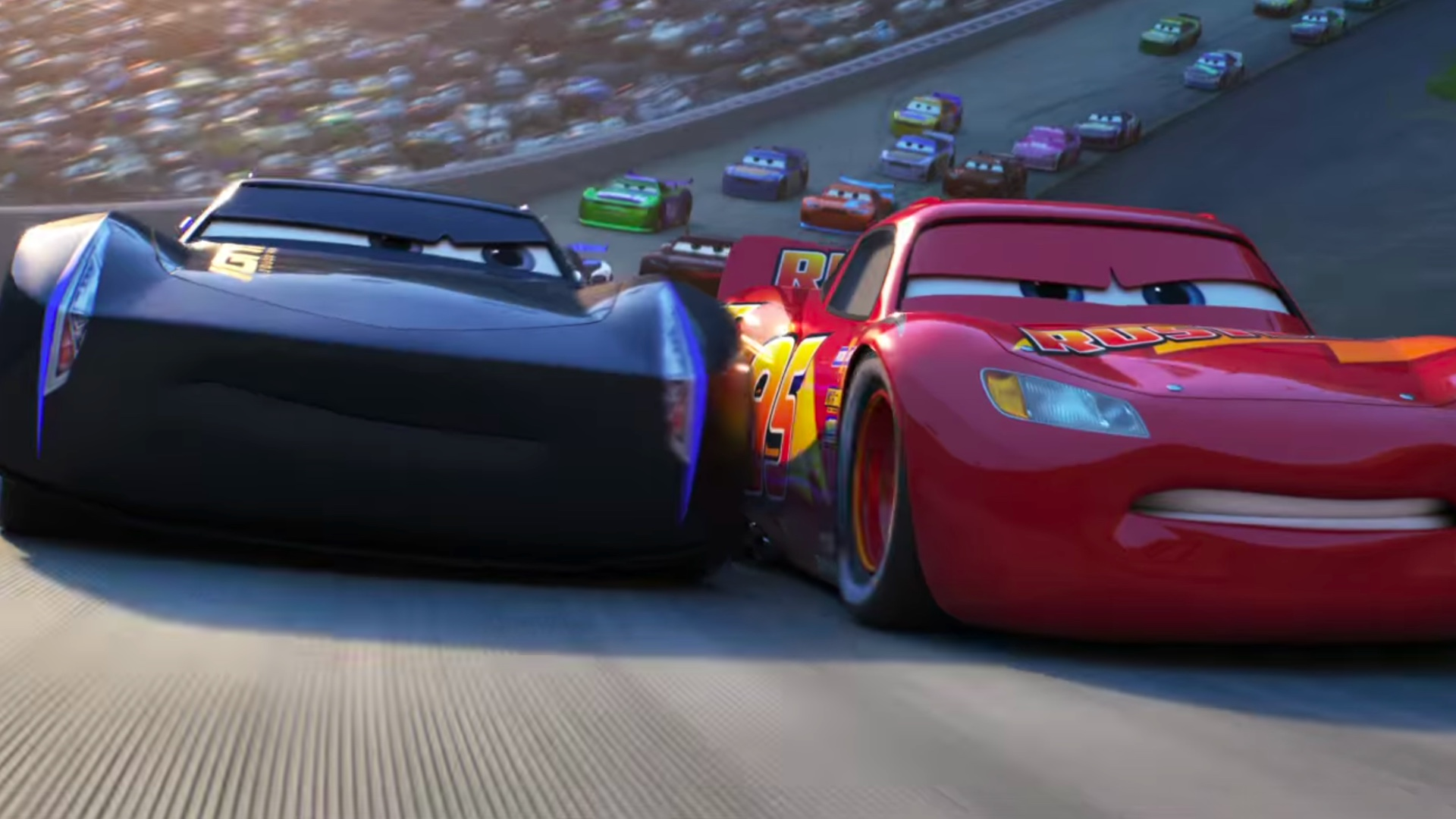 Lightening Mcqueen Vs Jackson Storm In New Cars 3 Rivalry