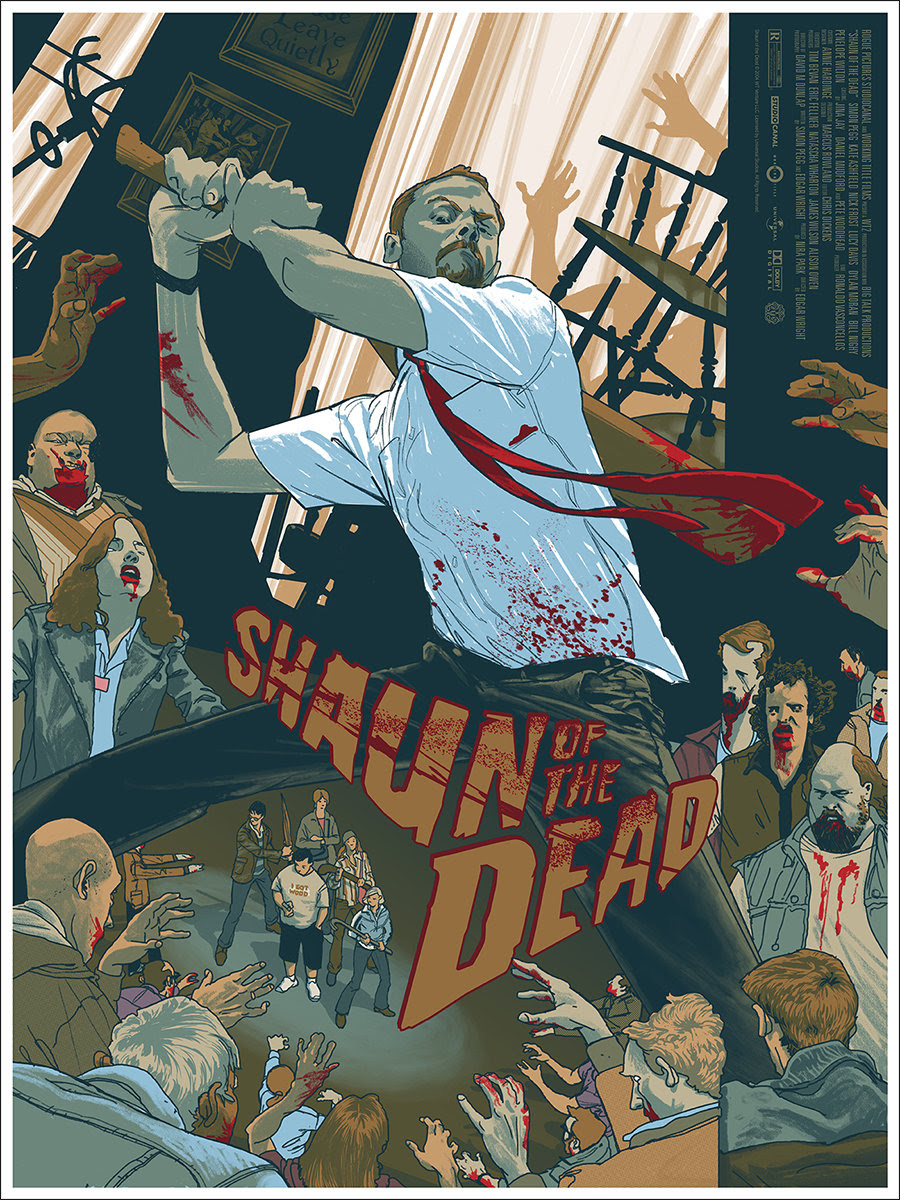 "Shaun of the Dead  by Rich Kelly. 18""x24"" screen print. Hand numbered. Edition of 300. Printed by D&L Screenprinting.  Expected to ship in 9-10 weeks.  $45"