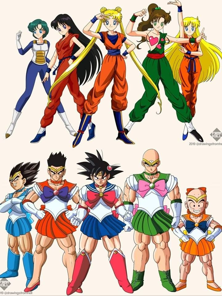 This Dragon Ball Z And Sailor Moon Crossover Art Is Incredible