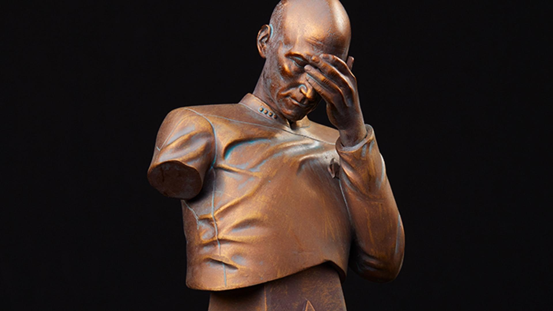 Star Trek Captain Jean Luc Picard Facepalm Face Palm Mini Bust Bronze Thinkgeek