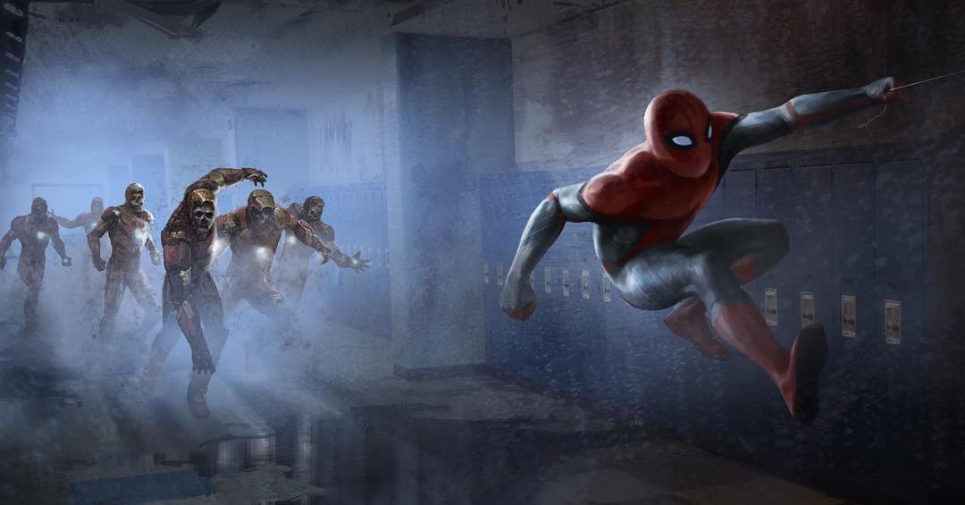 Killer Spider Man Far From Home Concept Art Includes Spidey Fighting An Army Iron Man Zombies Geektyrant