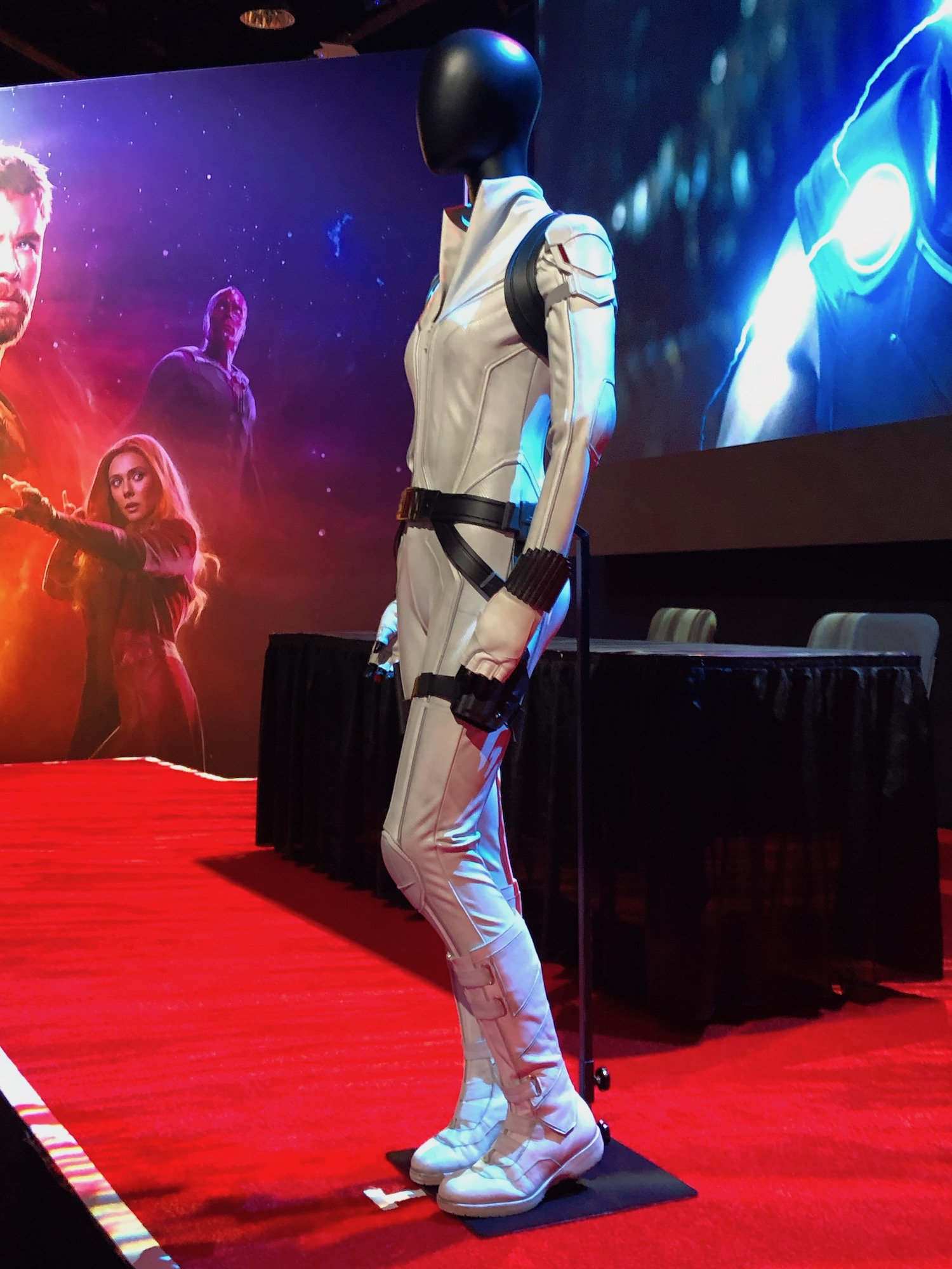 Scarlett Johansson S New White Costume For Marvel S Black Widow Unveiled At D23 Geektyrant