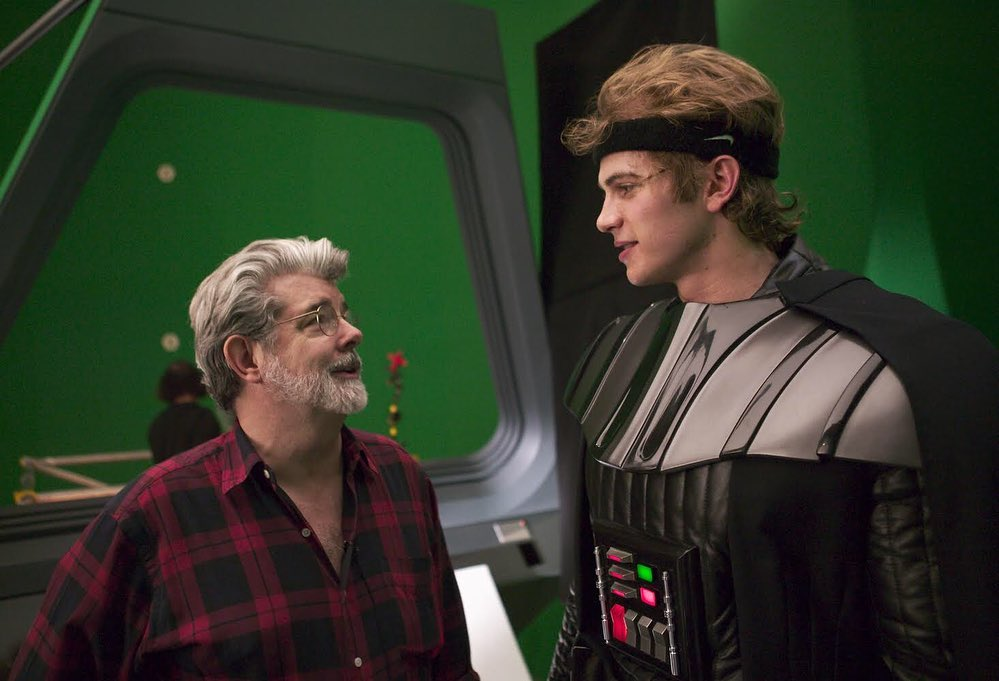 Star Wars Throwback Photos Feature George Lucas And Hayden Christensen Wearing The Darth Vader Costume Geektyrant