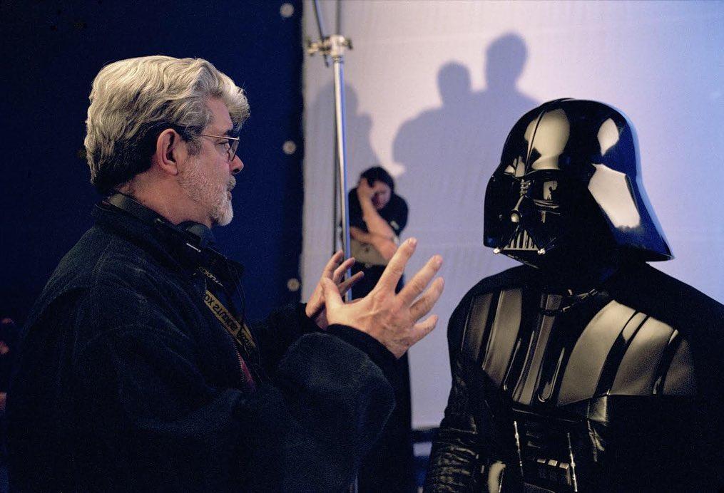 Star Wars Throwback Photos Feature George Lucas And Hayden Christensen Wearing The Darth Vader Costume Geektyrant