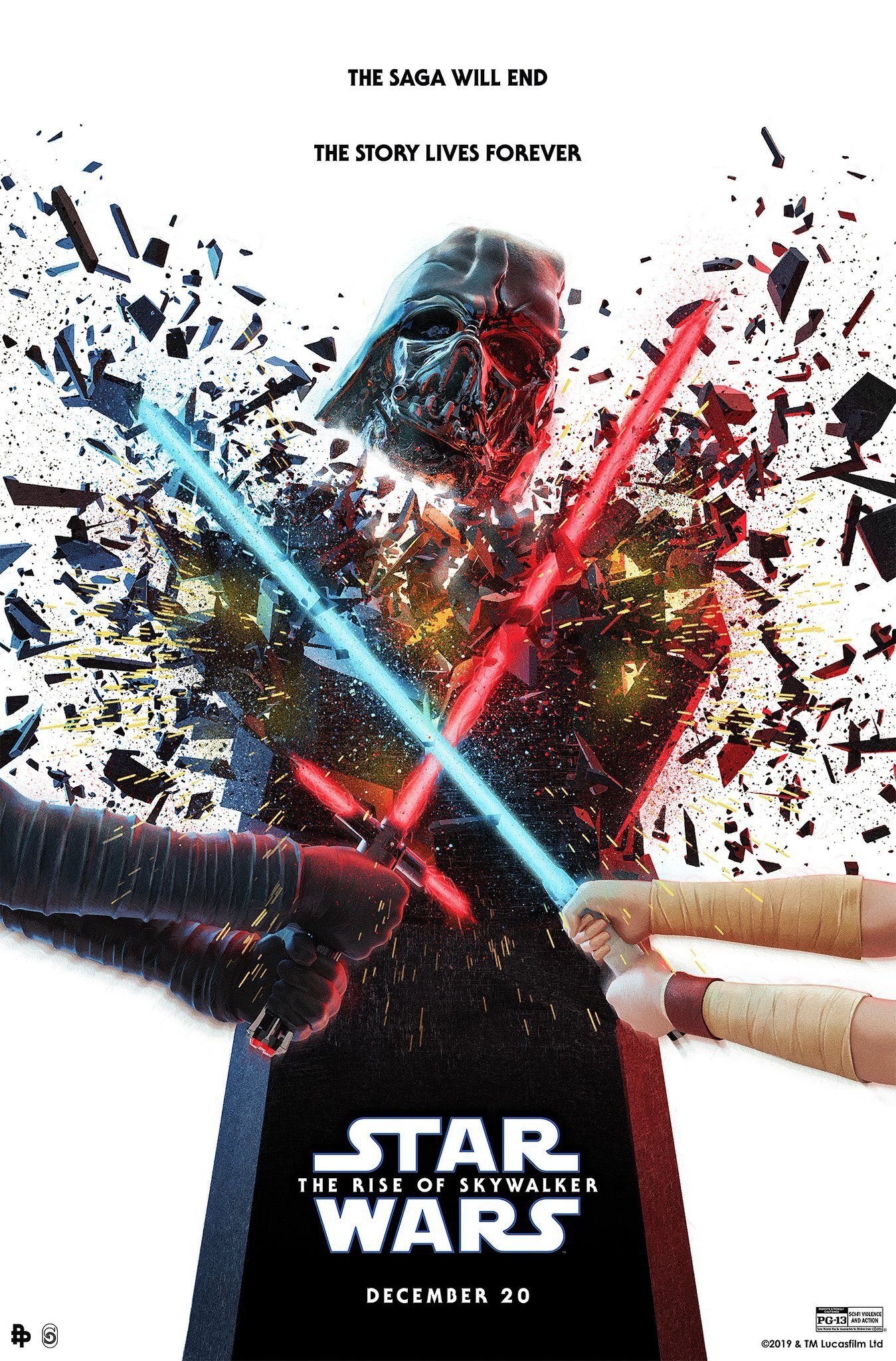 New Poster For Star Wars The Rise Of Skywalker Features Rey And Kylo Destroying The Remains Of Darth Vader Geektyrant