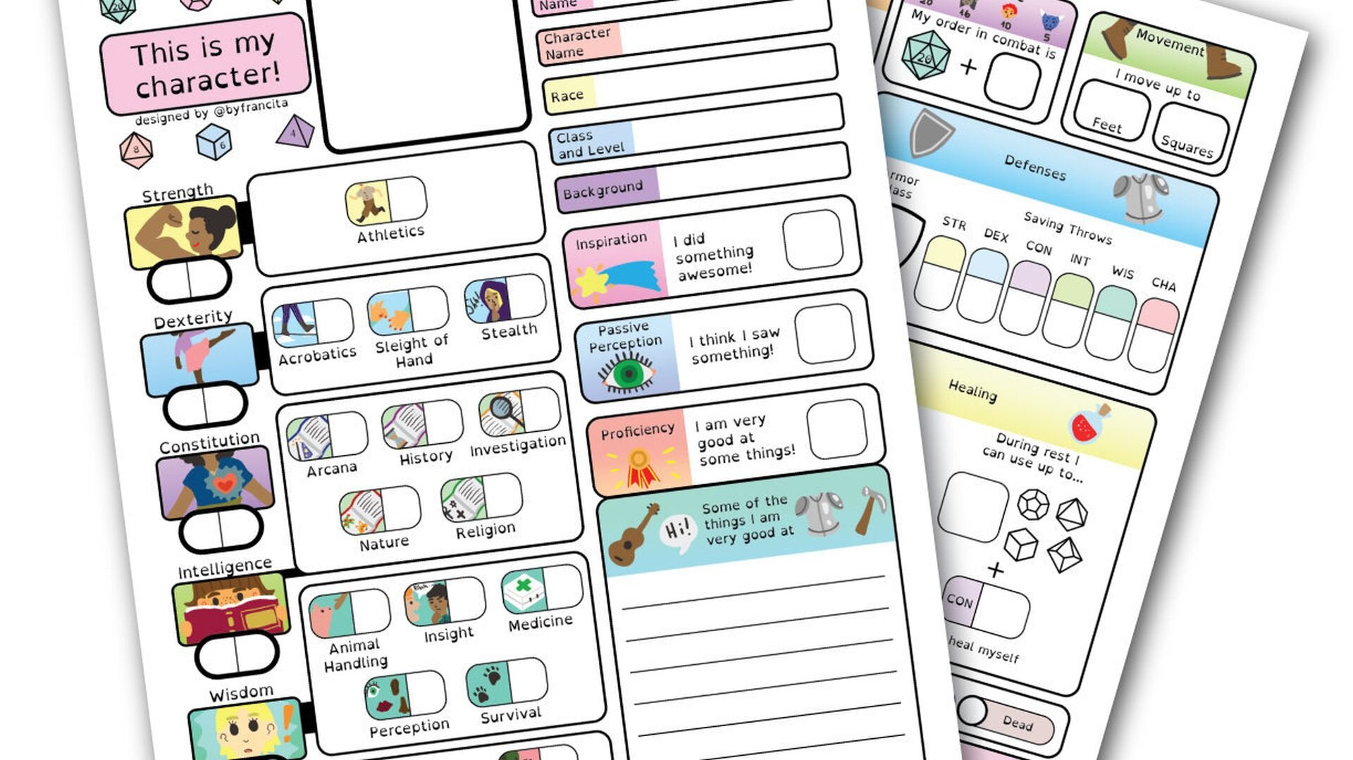 These Illustrated D D Character Sheets Are Perfect For People With Dyslexia Geektyrant