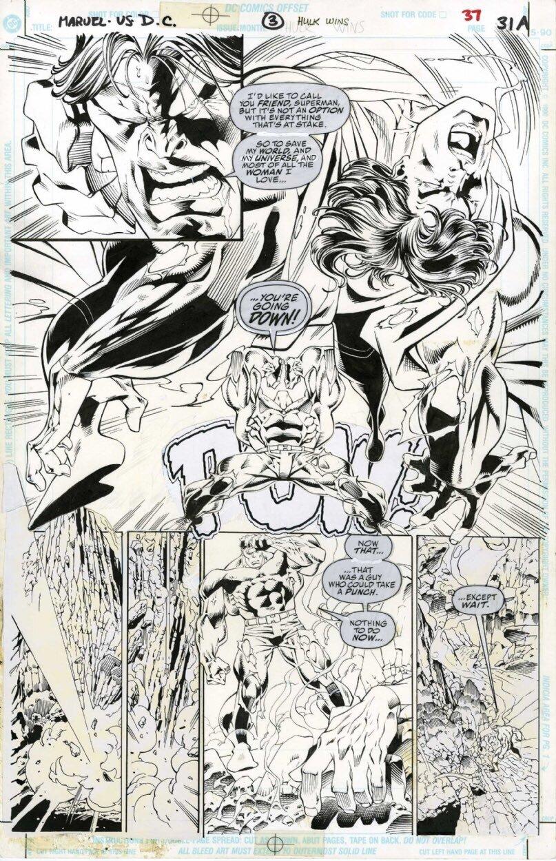 o-hulk-destrói-super-homem-em-não-usado-livro-de-quadrinhos-arte-de-1996s-maravilha-vs-dc-crossover-event
