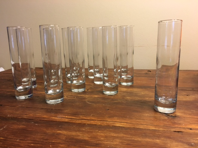 #206 - 7 Inch Slender Glass Vases - QTY 28