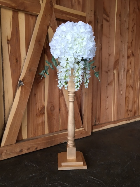 #207 - Tall Wood Centerpieces (10 Qty Gold / 10 Qty Pewter) - 10 Flower Arrangements TOTAL