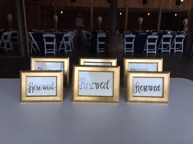 #216 - Gold Reserved Signs (Qty 6)