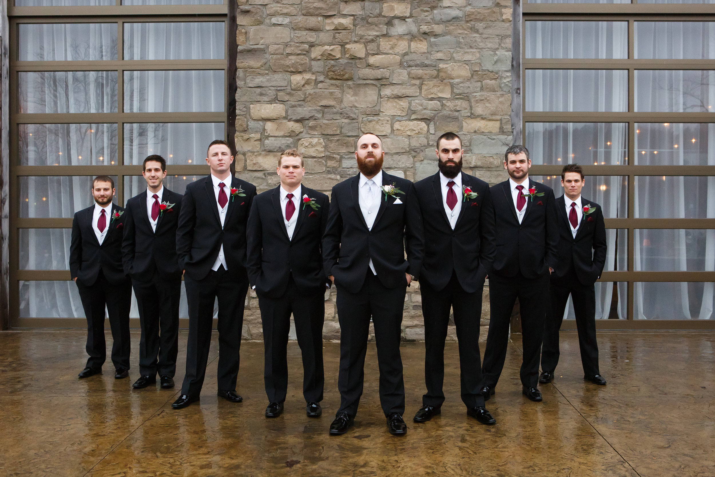 Reds and Romance Infuse a Midwest February Wedding