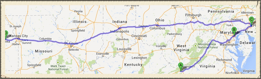 Bruno's journey from WV through MD to PA and then home to KS.