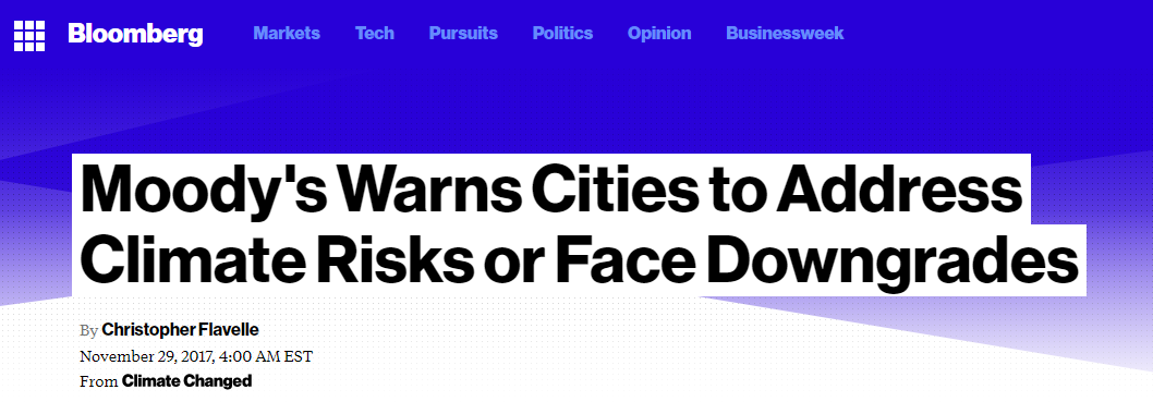 Headline: Moody's Warns Cities to Address Climate Risks or Face Downgrades