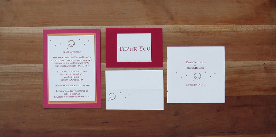 2-color wedding invitation. 1-color thank you card.    1-color placecard. 2-color program cover.    2005