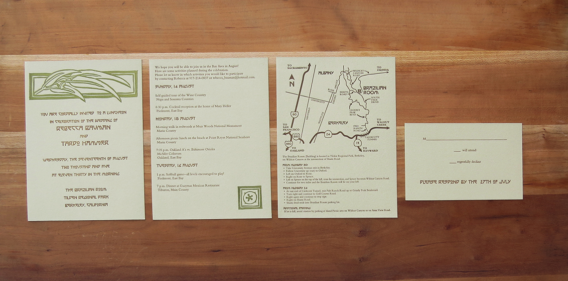 2-color wedding invitation. 2-color info card.    1-color map card. 1-color RSVP card.    2005