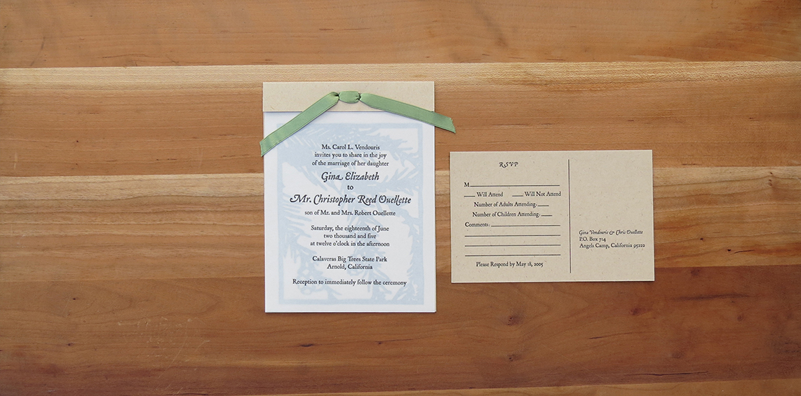 2-color wedding invitation. 2-color RSVP postcard.        2005