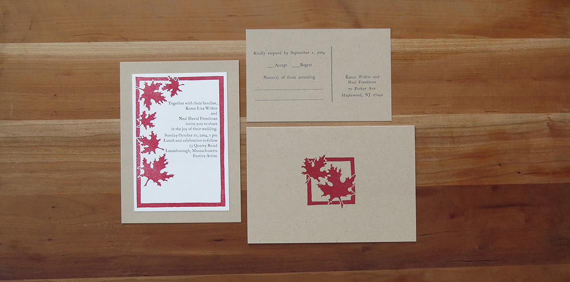 2-color wedding invitation. 2-color RSVP postcard.    1-color thank you card.     2004