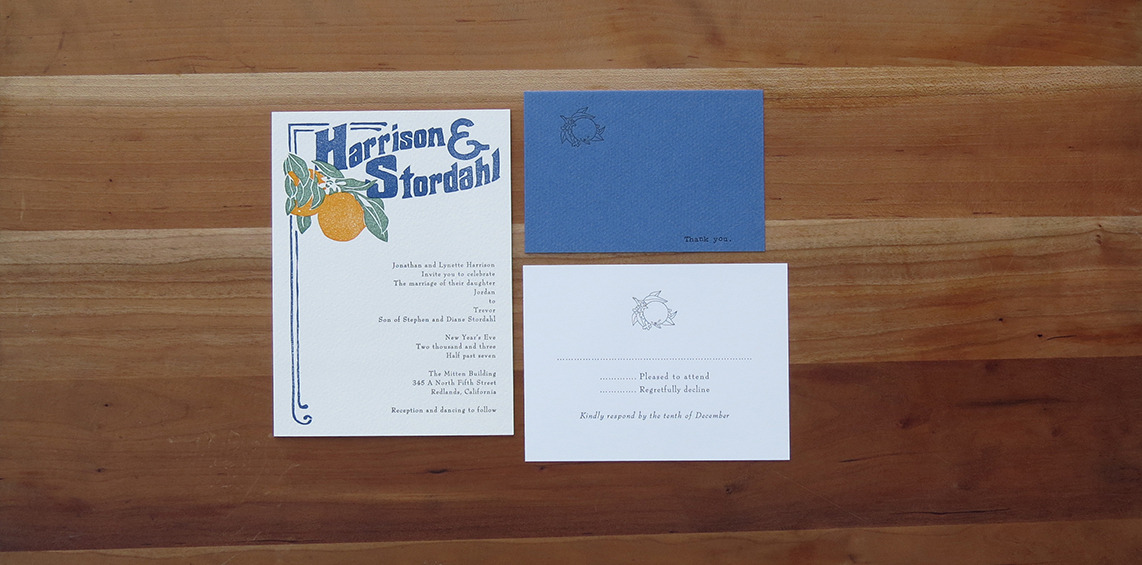 4-color wedding invitation.   1-color RSVP card.     1-color thank you card.           2003