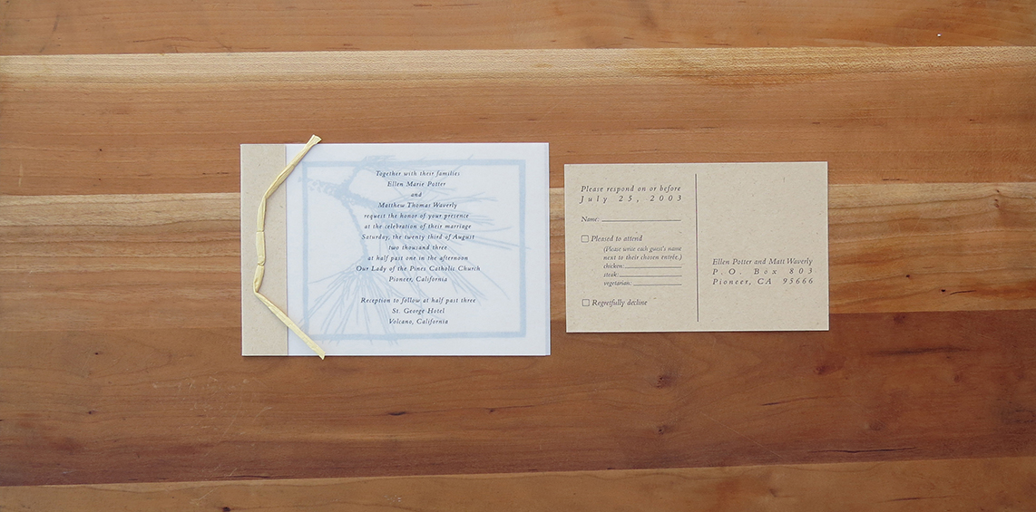 2-color wedding invitation.   2-color RSVP postcard.          2003