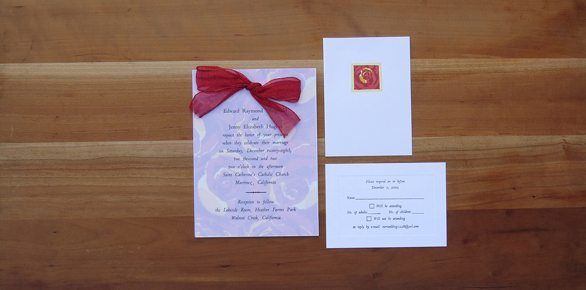 5-color wedding invitation. 4-color thank you card. 1-color RSVP card.  2002