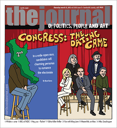 March 15, 2012 cover of the North Coast Journal. Pen and Photoshop  illustration for a story about the March 2012 California congressional election. Copyright 2012 North  Coast Journal. All rights reserved.