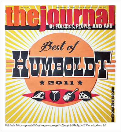 Sept. 22, 2011 cover of the North Coast Journal. Cut paper  illustration for the annual Best of Humboldt issue. Copyright 2011 North  Coast Journal. All rights reserved.