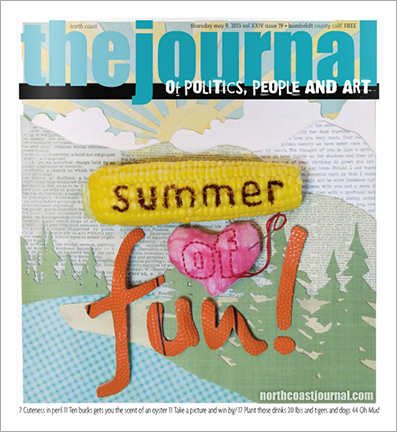 May 9, 2013 cover of the North Coast Journal. Cut paper, burned corn cob, hand stitched and cut basketball  illustration for the annual Summer of Fun issue. Copyright 2013 North  Coast Journal. All rights reserved.