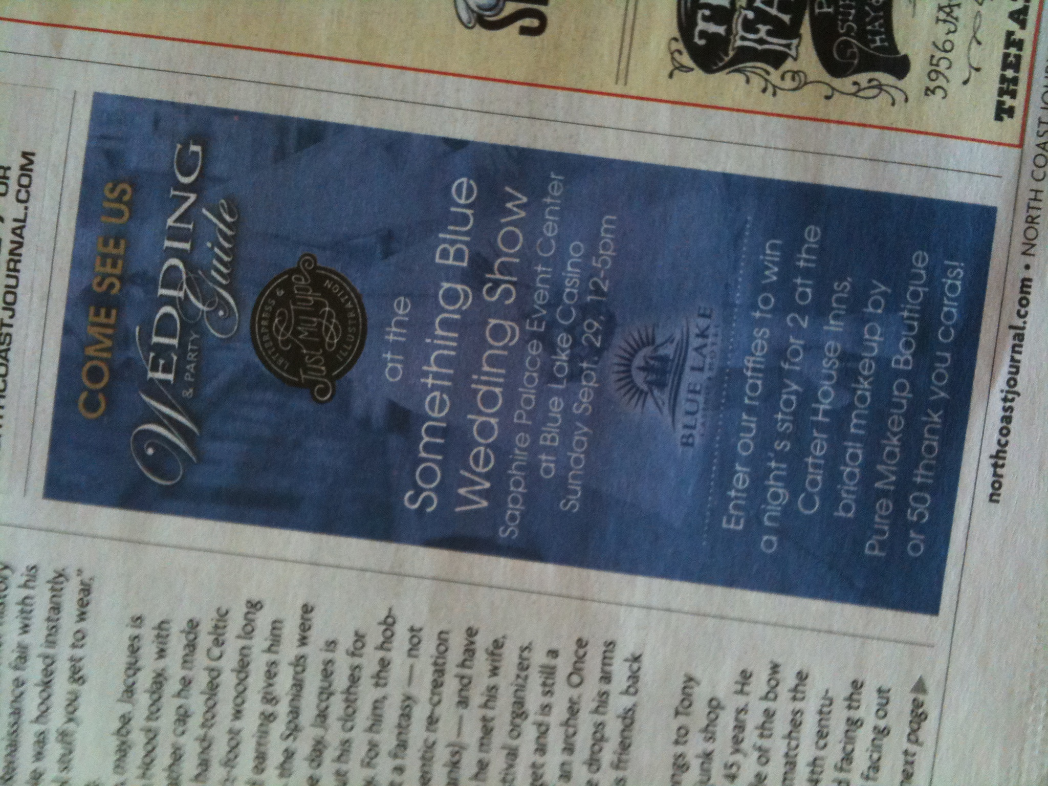 My joint ad with the  Wedding & Party Guide  in the Sept. 26, 2013  North Coast Journal .