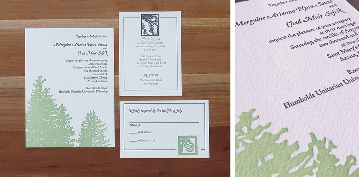 2-color wedding invitation. 2-color RSVP card.    2-color info card.     2006    The bride and groom wanted a wedding suite that reflected the simple beauty of the redwoods.