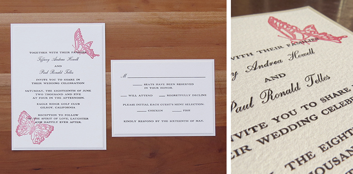 2-color wedding invitation. 1-color RSVP card.   2005