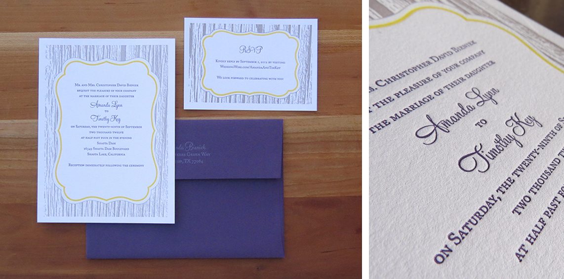 3-color wedding invitation. 3-color RSVP card. 1-color outer envelope. 2012  The theme of this wedding was simple rustic elegance. Grey wood grain, yellow frame and dark purple text to match the envelopes.
