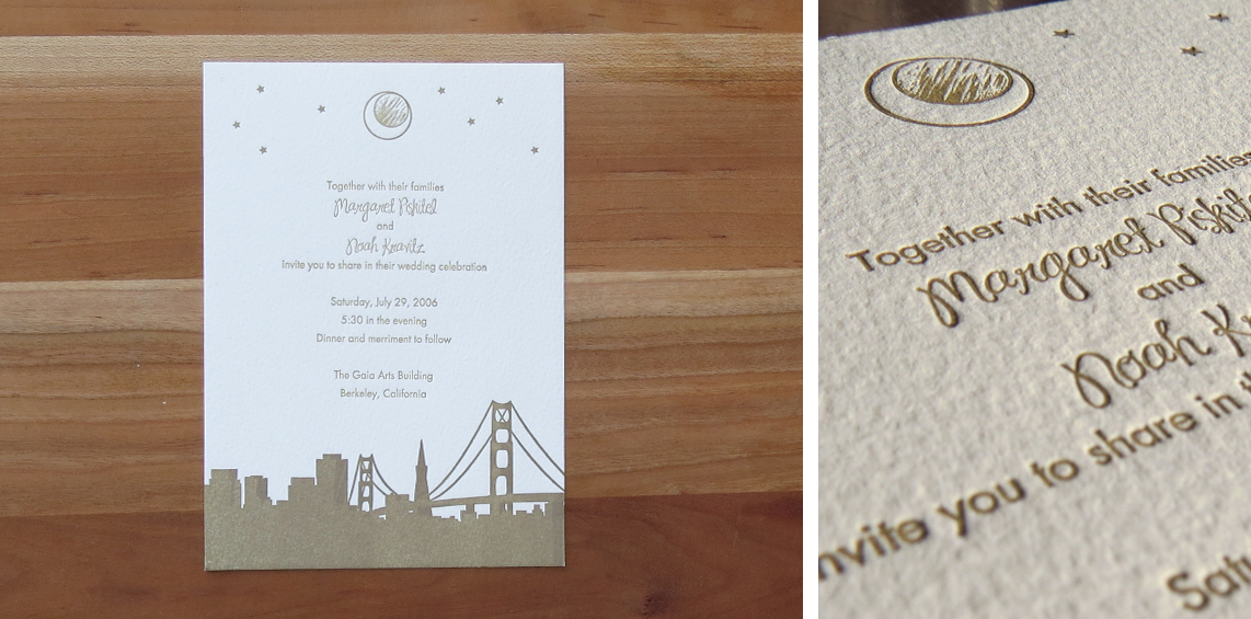 1-color wedding invitation. 2006  This couple was married in San Francisco. The moon image was based on a pendant that the groom gave to the bride. The invitation was printed with metallic gold ink, which has just a hint of sparkle to it when turned different directions in the light.