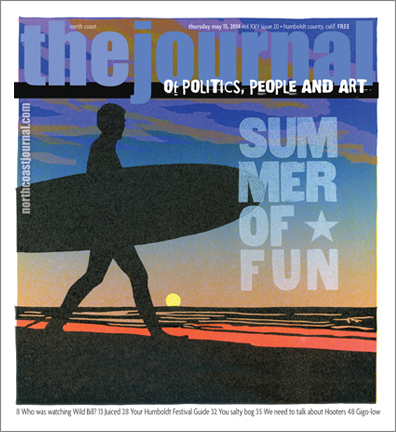 May 15, 2014 cover of the  North Coast Journal . Six color linoleum block cut of a surfer at sunset. Copyright 2014  North Coast Journal . All rights reserved.   Limited edition letterpress prints available here.