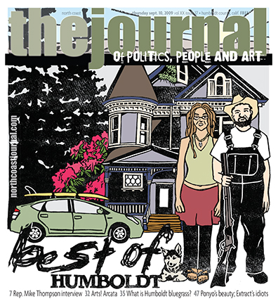 September 10, 2009 cover of the  North Coast Journal . One color linoleum block cut, colored digitally after proofing. Copyright 2009  North Coast Journal . All rights reserved.
