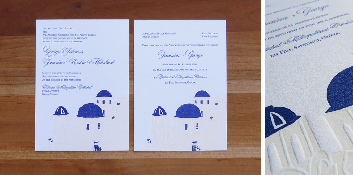 Two 3-color invitations. 2014  The couple lived in the U.S., they were getting married in Greece, and had family in Brazil. The design mimicked an invitation by Bespoke Letterpress, and was printed in English and Portuguese.